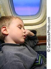 garçon, avion, sommeil