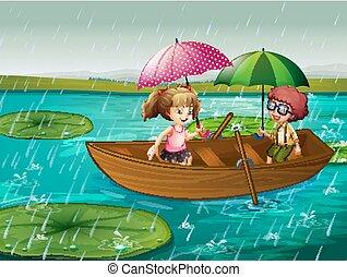 garçon, aviron, scène, pluie, girl, bateau