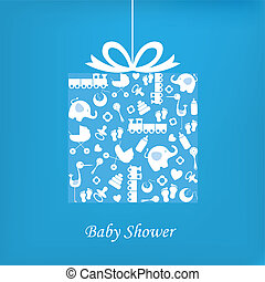 garçon, bébé, carte, naissance