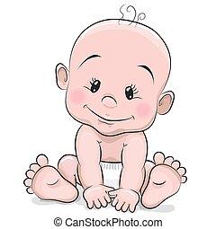 garçon, bébé, dessin animé, mignon