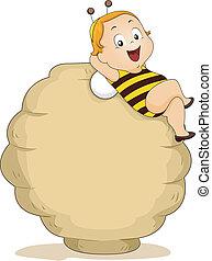 garçon, bébé, ruche, abeille