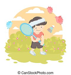garçon, badminton, jouer