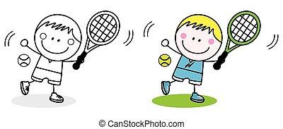 garçon, badminton, joueur