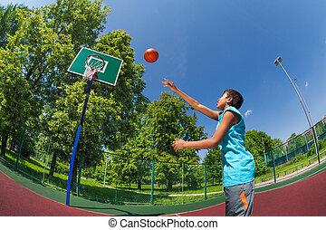 garçon, balle, but, voler, arabe, basket-ball