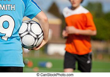 garçon, balle, fond, courant, tenue, football, ami