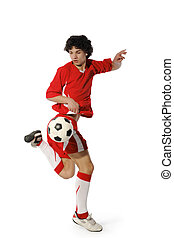 garçon, balle, football, footballeur