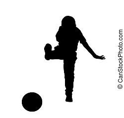 garçon, balle, silhouette