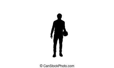 garçon, balle, silhouette, jouer
