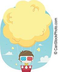 garçon, balloon, illustration, air, chaud, pop-corn, gosse