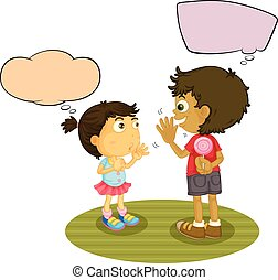 garçon, balloon, parole, girl, conversation