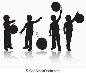 garçon, balloon, silhouette