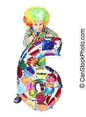 garçon, balloon, six, isolé, clown, forme, fond, robe blanche