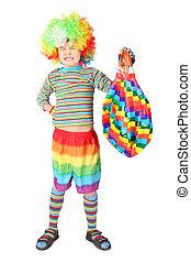 garçon, baloon, isolé, clown, multicolore, fond, robe blanche