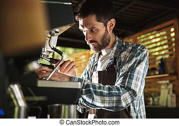 garçon, barbu, extérieur, barista, fonctionnement, image, café, café, quoique, confection, café, ou