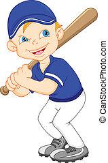 garçon, base-ball, dessin animé, joueur