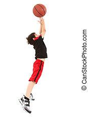 garçon, basket-ball, énergique, sauter, enfant