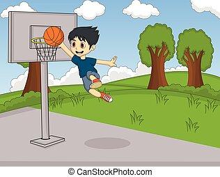garçon, basket-ball, jouer
