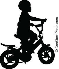 garçon, bicyclette voyageant