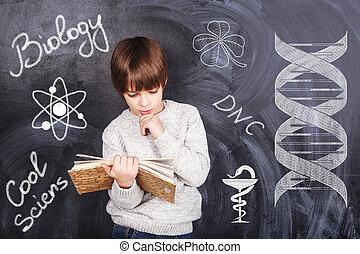 garçon, biologie, étudier