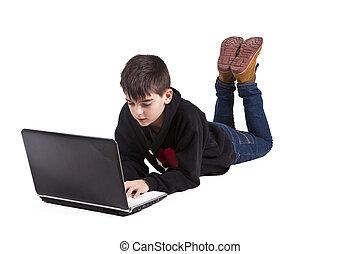 garçon, blanc, informatique, isolé