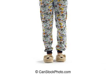 garçon, blanc, isolé, pyjama, habillé
