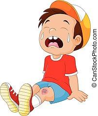 garçon, blessé, dessin animé, pleurer, jambe