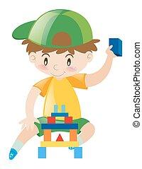 garçon, blocs, jouer, heureux