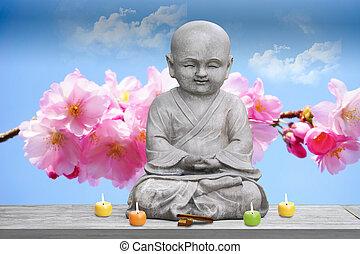 garçon, bouddha, offrande