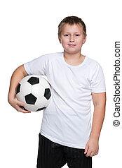 garçon, boule football, jeune, confiant