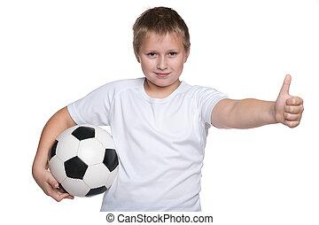 garçon, boule football, jeune, heureux