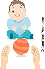 garçon, boule jeu, syndrome, illustration, bas, bébé
