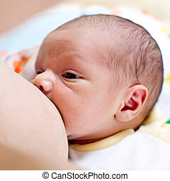 garçon, breastfeeding, vieux, semaine, bébé, une