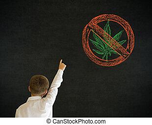 garçon, business, non, marijuana, haut, main, réponse, ...