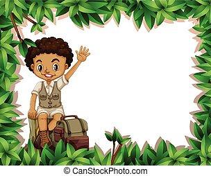 garçon, cadre, camping, nature