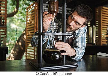garçon, café, brunette, barista, fonctionnement, image, café, quoique, extérieur, confection, café, ou