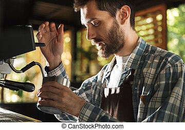 garçon, café, extérieur, barista, fonctionnement, image, café, caucasien, quoique, confection, café, ou