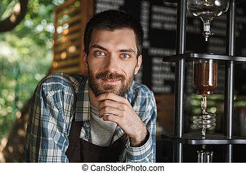 garçon, café, extérieur, barista, fonctionnement, image, café, content, quoique, confection, café, ou