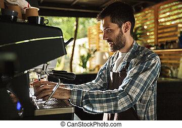 garçon, café, extérieur, barista, fonctionnement, image, café, jeune, quoique, confection, café, ou