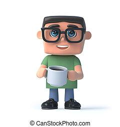 garçon, café, lunettes, boire, 3d
