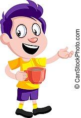 garçon, café, tasse, illustration, arrière-plan., vecteur, blanc