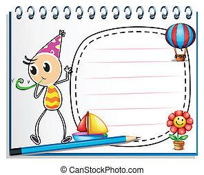 garçon, cahier, chapeau, dessin, fête