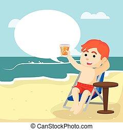 garçon, callout, plage, délassant