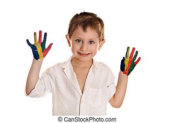 garçon, caractères, coloré, peint, peintures, main, mains, prêt