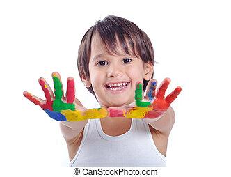 garçon, caractères, vieux, coloré, peint, peintures, mains, main, cinq, année, prêt