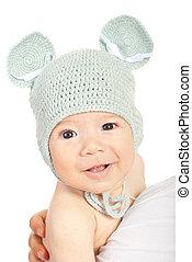 garçon, casquette, tricoté, bébé, sourire, souris