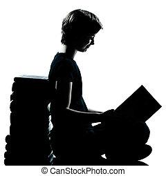 garçon, caucasien, silhouette, jeune, une, adolescent, lecture fille, ou