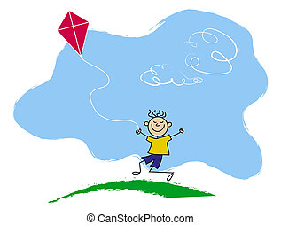 garçon, cerf-volant vol, dessin animé