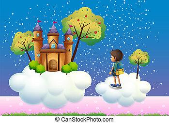 garçon, château, nuages, au-dessus