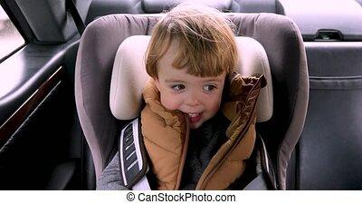 garçon, chaise, sécurité, voiture, séance