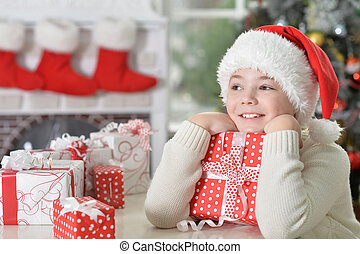 garçon, chapeau, portrait, santa, heureux, dons